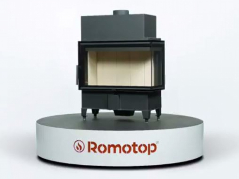 Romotop HEAT R/L 2g S 50.44.33.13 - corner fireplace insert with bent glazing