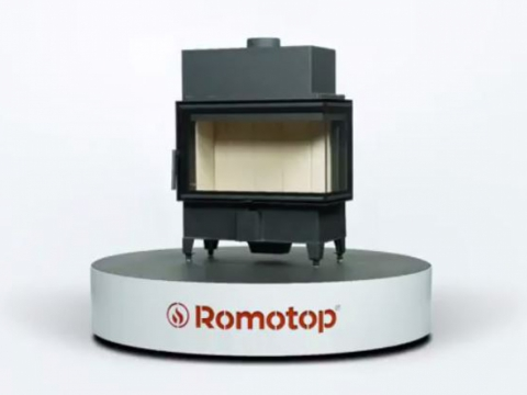 Romotop HEAT R/L 2g S 70.44.33.13 - corner fireplace insert with bent glazing