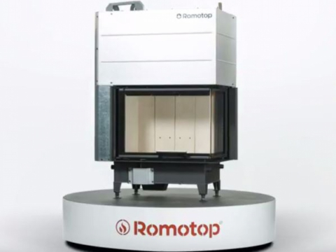 Romotop HEAT R/L 2g L 65.51.40.01 - hot-air corner fireplace insert with lifting door and bent glazing