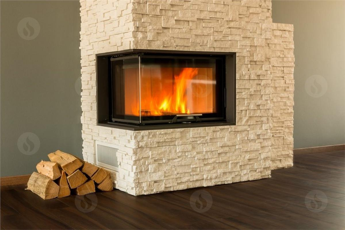ANGLE R/L 2g L 66.44.44.01 - design fireplace insert with lifting door and bent corner glazing
