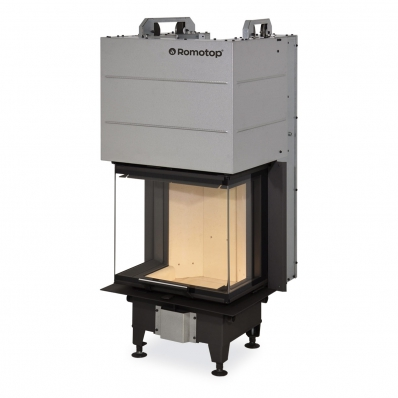 HEAT C 2g L 50.52.31.01 - hot-air three-sided fireplace insert with lifting door and bent glazing
