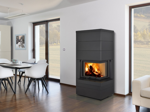 CARA R/L 03 steel - design accumulation fireplace with lifting door and bent corner glazing