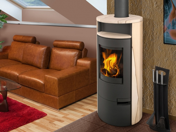 LUGO 04 sandstone - accumulation fireplace stove