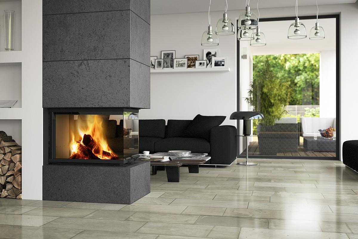 HEAT U 3g L 50.52.70.21 - hot-air three-sided fireplace insert with lifting door and split glasses