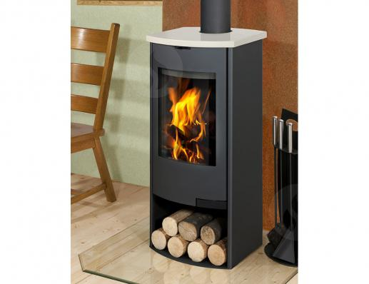 TALA 02 sheet metal + ceramic, radius door - fireplace stove