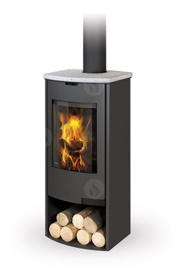 TALA 03 sheet metal + stone, radius door - fireplace stove