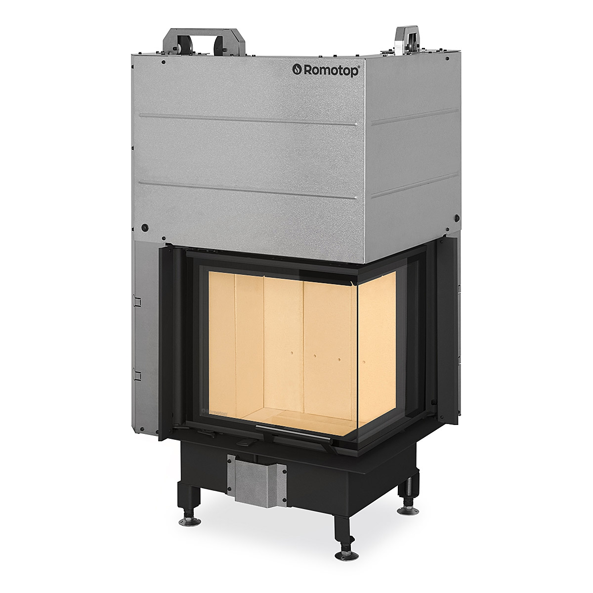 HEAT R/L 3g L 50.51.40.21 - hot-air corner fireplace insert with lifting door and split glazing