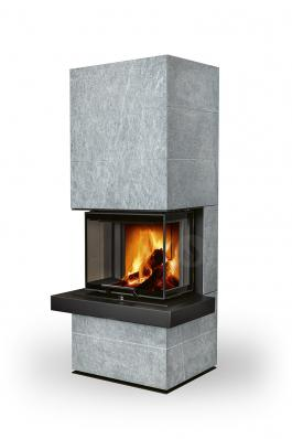 CARA CS 02 serpentine - design accumulation fireplace with lifting door