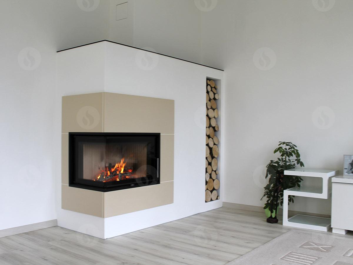 ANGLE R/L 2g S 66.44.44.01 - design fireplace insert with door with bent corner glazing