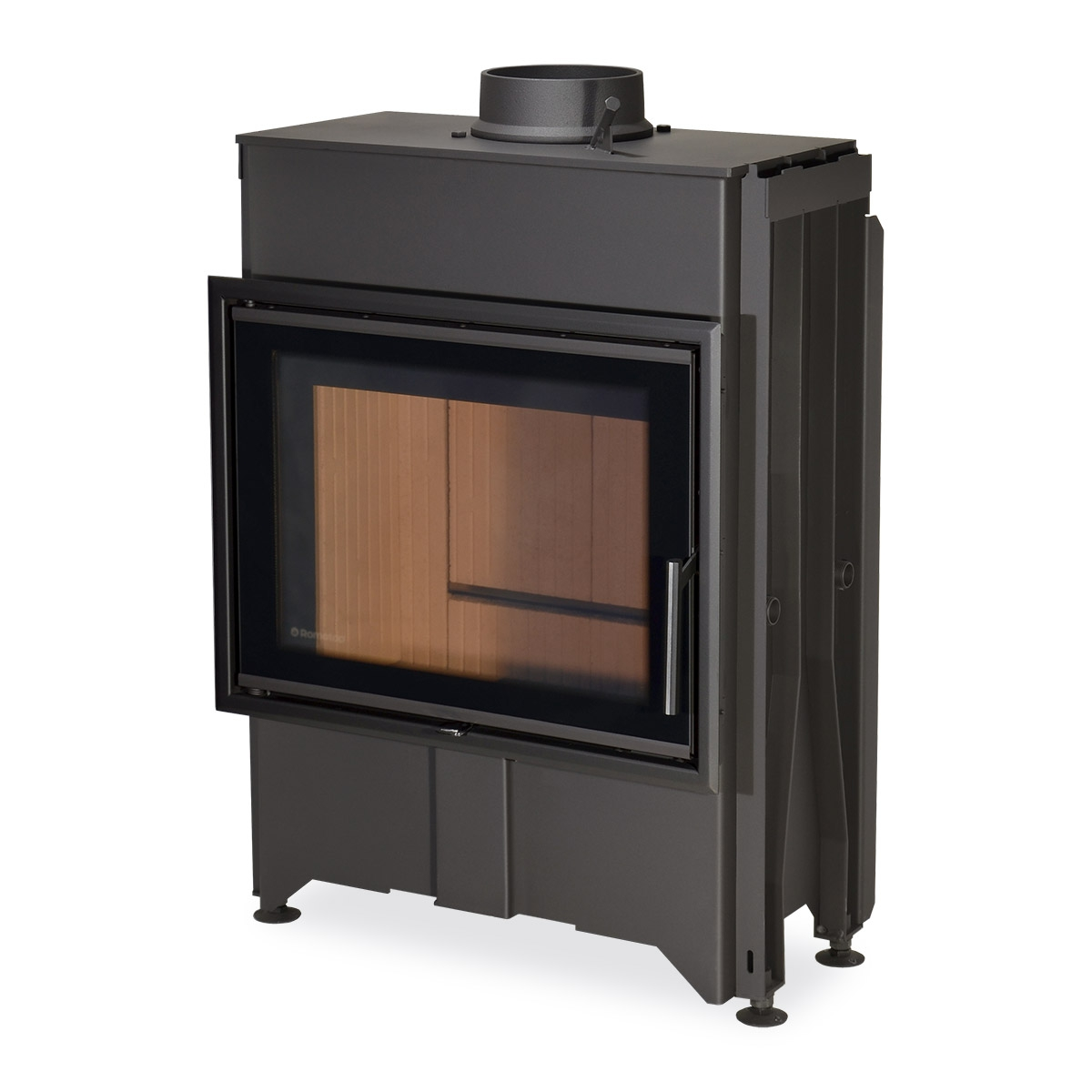DYNAMIC B2G 66.50.13 - straight fireplace insert with back stoking and triple glazing