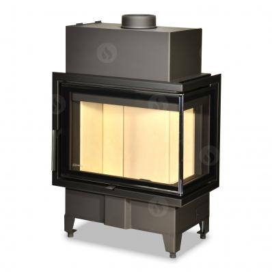 HEAT R/L 2g S 60.44.33.23 - corner fireplace insert with split glazing with a special ledge