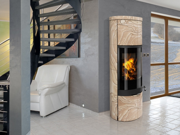 SORIA 04 sandstone - accumulation fireplace stove