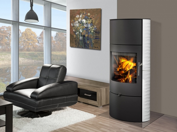 OVALIS 01 A ceramic with relief structure - accumulation fireplace stove