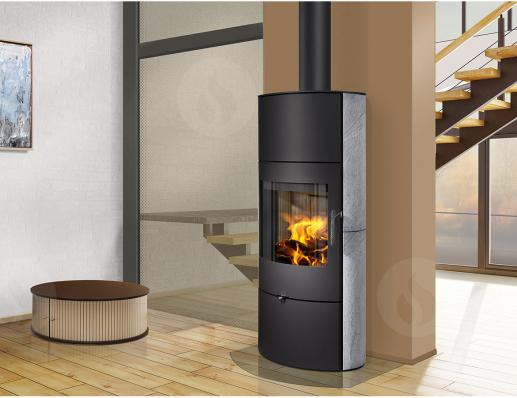 OVALIS 02 A stone - accumulation fireplace stove