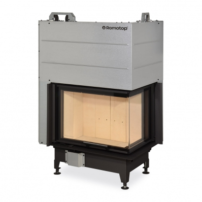 HEAT R/L 3g L 65.51.40.01(21) - hot-air corner fireplace insert with lifting door and bent (split) glazing