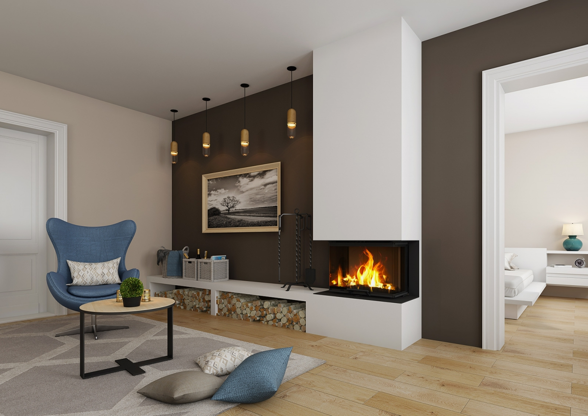 HEAT C 2g L 65.51.31.01 - hot-air three-sided fireplace insert with lifting door and bent glazing