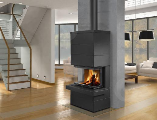 CARA C 03 steel - design accumulation fireplace with lifting door