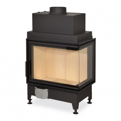HEAT R/L 2g S 65.51.40.01(21) - hot-air corner fireplace insert with bent (split) glazing